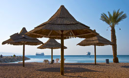 View on the northern beach, Eilat city, Israel Stock Photos