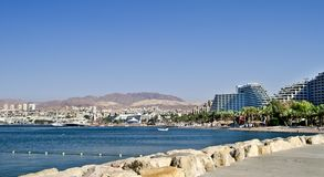 View on northern beach of Eilat, Israel Stock Images