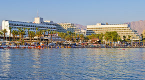 View on northern beach of Eilat, Israel Royalty Free Stock Photo