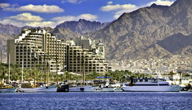 View on northern beach of Eilat, Israel Royalty Free Stock Photography
