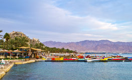 View on northern beach of Eilat, Israel Royalty Free Stock Image
