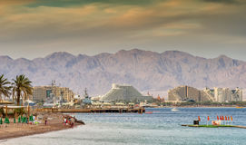 View on the northern beach of Eilat Royalty Free Stock Photography