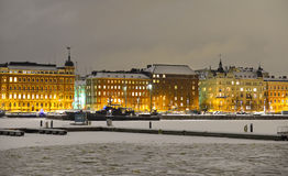 View of Northern harbor in winter evening Stock Photos