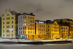 View of Northern harbor in winter night in cold and snowfall Stock Photography