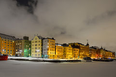 View of Northern harbor in winter night in a frost and snowfall Royalty Free Stock Photography