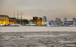 View of Northern harbor in winter night in Helsinki Royalty Free Stock Photos