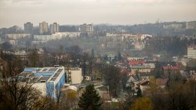 View on Szpital Slaski in Cieszyn and norther part of Polish Cieszyn. View on northern part of city of Cieszyn. In the foreground Szpital Slaski hospital. Photo royalty free stock images
