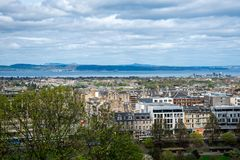 A view of northern part of Edinburgh city and river Forth from castle wall Royalty Free Stock Photos