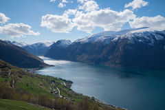View of Norwegian fiord Aurlandsfjorden Stock Photos