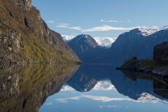View of Norwegian fiord with reflections Royalty Free Stock Photo