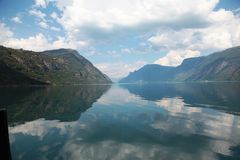 View of the Norwegian fjord. And water reflection Stock Image