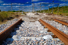 View of not completed railway. Surrealistic view of not completed railway Stock Image