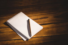 View of a notepad with pen Stock Photo