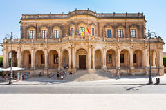 View of the Noto town hall Royalty Free Stock Photos