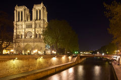 Notre Dame and Bridge at Night Royalty Free Stock Photo