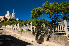 View of Notre-Dame de la Garde basilica in Marseille. Southern France Stock Photography