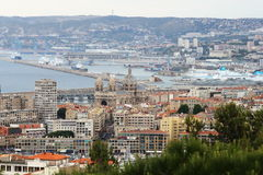 View from Notre Dame de la Garde upon Marseille port, France Royalty Free Stock Photos