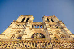 Notre Dame de Paris Upper Facade Royalty Free Stock Photos