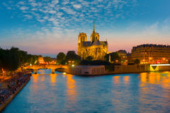 View of Notre Dame de Paris at night Royalty Free Stock Photography
