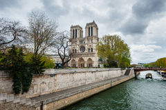 View of Notre Dame de Paris from Seine Stock Images