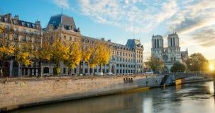 Notre dame de Paris and Seine river in Paris, France Stock Images