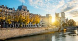 Notre dame de Paris and Seine river in Paris, France Royalty Free Stock Images