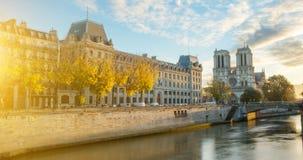 Notre dame de Paris and Seine river in Paris, France Stock Photos