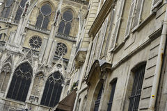 View of Notre-Dame de Paris, from a side street Royalty Free Stock Image
