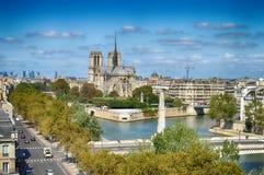 Notre Dame de Paris. View of Notre Dame de Paris at sunny day stock image
