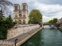 View of the Notre Dame. Iconic view of the Notre Dame Cathedral in Paris, France. One of the most popular tourist attractions in Paris Royalty Free Stock Photos