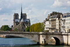 View of Notre Dame and the Ile Saint-Louis Stock Images