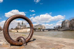 View of Notre Dame Paris  Seine river Royalty Free Stock Photos
