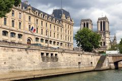 View at Notre Dame in Paris from ship at Seine river Stock Photos