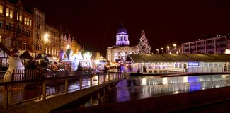 A view of the Nottingham Christmas Market in the Old Market Square, Nottingham, Nottinghamshire - 30th November 2017. View of the Nottingham Christmas Market in royalty free stock photos