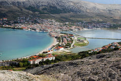 View at Novalja on island Pag in Dalmatia,Croatia Royalty Free Stock Photography
