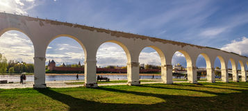View of the Novgorod Kremlin by Yaroslav's Court Stock Images