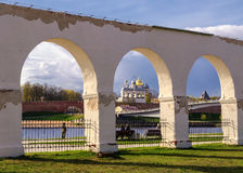 View of the Novgorod Kremlin by Yaroslav's Court Stock Photos