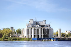 View of Novgorod Regional Drama Theatre at the bank of the Volkhov river Royalty Free Stock Image