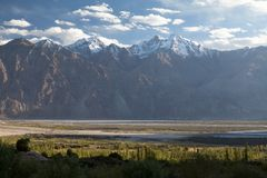 View of Nubra Valley, Ladakh, Jammu and Kashmir, India. View of Nubra Valley and Lahakh Range of Hilalaya Mountains from buddhist monastery Samstalig Gompa Royalty Free Stock Photo