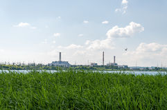 View of the nuclear power plant. Royalty Free Stock Photos