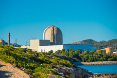 View of the nuclear power plant by the sea in Vandellos, Tarrago. Nuclear power plant by the sea in Vandellos, Tarragona, Spain Stock Images