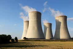 View of nuclear power plant towers Stock Photo