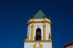 View of the Nuestra Señora del Socorro Church tower. Nuestra Señora del Socorro Church tower. Ronda, Spain Royalty Free Stock Photography
