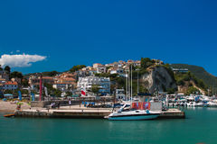 View of Numana city on the sea and Conero mount in the Marche region Stock Photos