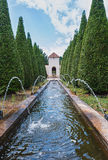 View of the number of fountains inside pyramidal tui in the par Royalty Free Stock Images