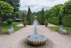 View of the number of fountains inside pyramidal tui in the park Royalty Free Stock Photo