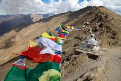 View of Nun Kun Range with buddhist prayer flags Stock Photography