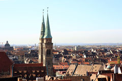 View of Nuremberg Germany. A view of the rooftops of the historic centre of Nuremberg in the early morning royalty free stock photo