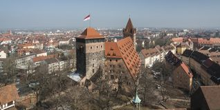 View from Nuremberg Imperial Castle Keiserburg from Holy Roman Empire - Nuremberg - Germany. View from Nuremberg Imperial Castle Keiserburg from Holy Roman stock image