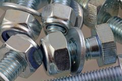 Metal Mechanical fastener. A view of nut,bolts and washers royalty free stock images
